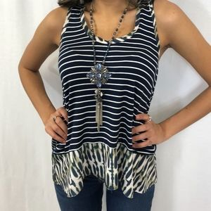 Blue and White Stripped Sleeveless Tank